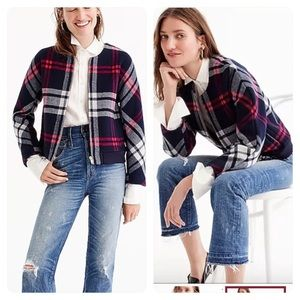 J. Crew Plaid Wool Bomber